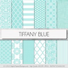 Tiffany Party, Tiffany Blue, Teal Blue Weddings, Digital Scrapbooking, Digital Papers, Gold Mason Jars, Printable Bridal Shower Games, Photography Projects, Printable Paper