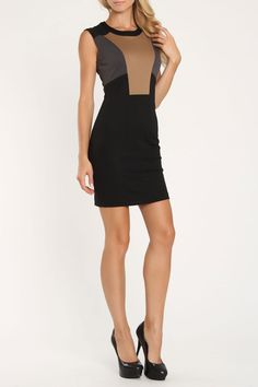 La Classe Couture Color Block Dress In Black Combo - Beyond the Rack