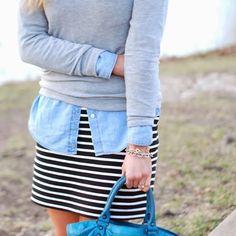 "Spotted while shopping on Poshmark: ""Striped pencil skirt black white stretch""! #poshmark #fashion #shopping #style #Dresses & Skirts"