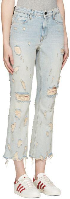 Alexander Wang: Indigo Scratch Grind Jeans | SSENSE