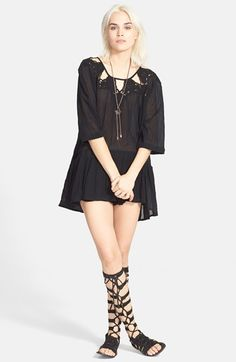Free People 'Sun and Moon' Tunic black, ivory cotton szXS 32L 76.80