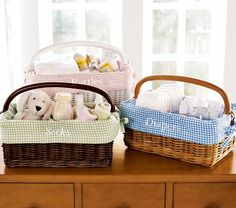Sabrina Diaper Caddy & Gingham Liners | Pottery Barn Kids... love these