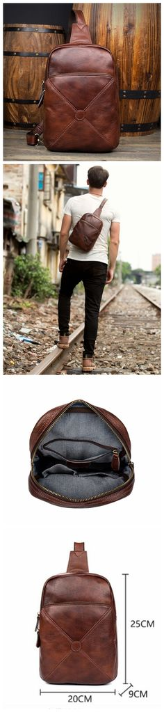 NEW LEATHER CHEST BAGS, BROWN MENS BAG,CHEST CROSSBODY BAG, LEATHER CHEST BAG,HANDMADE CHEST BAG MS143