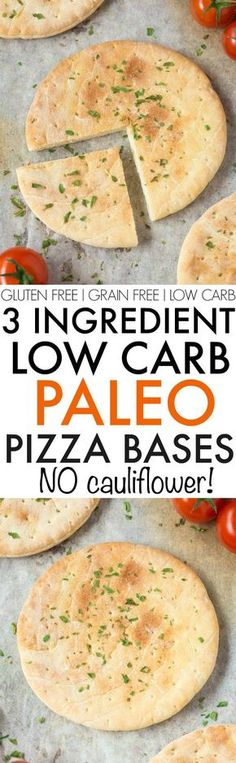 3 Ingredient Paleo Pizza Bases and Crusts- Quick, easy low carb and low calorie, NO Cauliflower and NO oven needed- They are made stovetop and freezer friendly! {grain free, paleo, gluten free}- http: (Vegan Cauliflower Almond Flour) Low Carb Bread, Low Carb Diet, Paleo Bread, Paleo Flour, Paleo Pizza Crust, Almond Flour Pizza Crust, Low Calorie Pizza Crust Recipe, Low Carb Pizza Base, Gluten Free Pizza Base