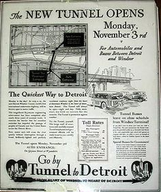 The Tunnel Opens Back page of Part six, special Tunnel Section of November 9, 1930, Detroit Free Press.