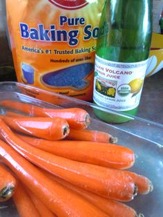 Cleaning vegetables...1-2 T of Lemon Juice and 1-2 T of Baking Soda in a large bowl of fresh water.  Submerge veggies in water, rinse and repeat if necessary...dry or spin to before preparing for use...