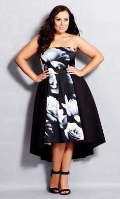 Plus Size Blown Rose Dress