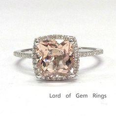 Cushion Morganite Engagement Ring Pave Diamond Wedding 14K White Gold, 8mm - Lord of Gem Rings - 1