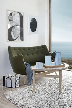 """The palette in Denmark is getting interestinger and intrestinger. This olive drab (dare we say """"avocado""""?) also in evidence at High Point market."""