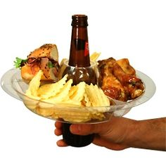 The Go Plate - Reusable Food  Beverage Holder - Perfect for parties and buffet-style events, the plate stays put while you eat. When you want to take a drink, simply lift the plate off! Designed for warm or cold foods; crafted from sturdy, reusable, recycled clear plastic. Top shelf dishwasher (not for microwave). Works with bottles, cans, and even Red Solo cups!