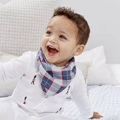 Check Flannel Bandana Bib | The White Company UK