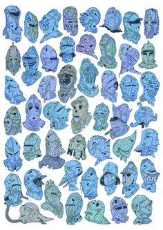 ashleycaswell:  50 Knight Helmets!! A really fun challenge from last semester.