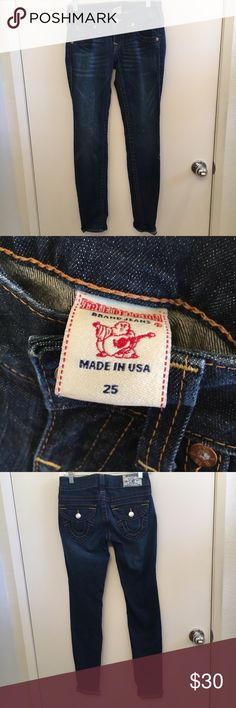 True Religion Skinny Jeans Perfect quality, not even a little bit worn in the thigh area. True Religion Jeans Skinny