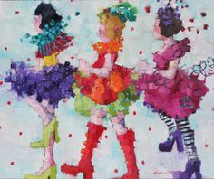 Angela Morgan, from chorus line to carnival, Oil on Canvas 30 X 36 in.