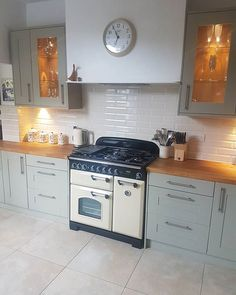 Another angle with the and tiles from going together really well. Country Kitchen Tiles, Home Decor Kitchen, Kitchen Interior, New Kitchen, Home Kitchens, Kitchen Design, Kitchen Ideas, Brick Bonds, Wood Effect Tiles