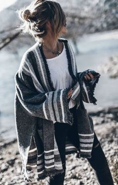 Black jeans and white shirt w/ plaid cardigan