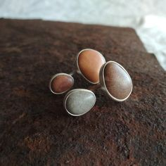 Sterling silver beach stone ear jackets. Multi color earrings. Sea lovers gift. Lovers Gift, Gift For Lover, Sea Glass Jewelry, Stone Jewelry, Ear Jacket, Beach Stones, Silver Rings, Stud Earrings, Sterling Silver