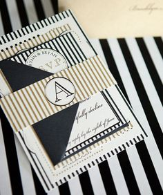 Elle Wedding Invitation Suite with Belly Band - Gold, Black and Quartz. $3.99, via Etsy.