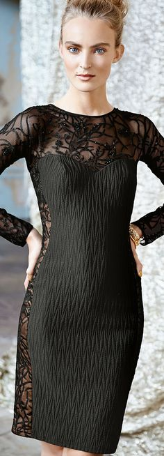 Tadashi Shoji ● Long Sleeve Lace Illusion Cocktail Dress