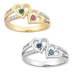 Couple's Heart Birthstone & Name Diamond Ring