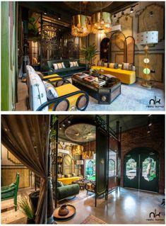 Living Room Designs, Living Room Decor, Wooden Pillars, Showroom Interior Design, Exposed Brick Walls, Candle Stand, Environment Concept Art, Teak Wood, Architecture Design
