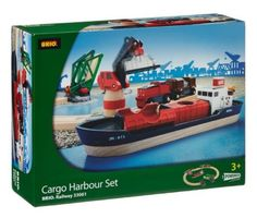 Finding good toys to educate your child can be a challenge sometimes.  That is why this Schylling Brio Cargo harbor Set  from Brio is just a great toy for your child.  The set has 16 pieces comprising of container ship with hinged cargo bays, motorized train, mechanical drawbridge and pivoting crane, 8 track sections and cargo, a pivoting, magnetic, multi-function crane and a movable drawbridge with safety gates. This Brio Metro Railway set does need a battery, not included