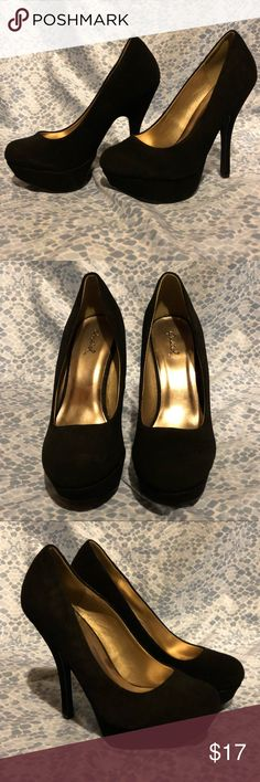 Glam Black High Heels Super stylish black high heels Used not new but in great condition Heel Height: 5.5in☘️ Cupid Shoes Heels