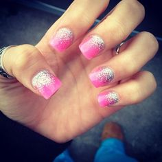 Adorable sparkle ombre nail art! Cute for summer and spring. so easy and simple but yet looks chic.
