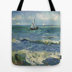 Seascape near Les Saintes-Maries-de-la-Mer by Vincent van Gogh Tote Bag by TilenHrovatic - $22.00 #bag #totebag #design #fashion #art