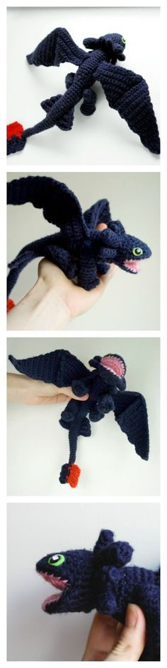 Crochet pattern for amigurumi Toothless dragon from HTTYD.  By #tinyAlchemy: