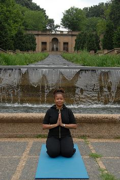 Love's Troubadours main character Karma Francois is a yoga teacher in Washington, D.C., just like author Ananda Leeke (in photo taken in Malcolm X - Meridian Park by Leigh Mosley http://www.leighmosley.com). Karma teaches yoga at the Our Womanist Center and in Malcolm X-Meridian Hill Park. Throughout the novel, Karma uses yoga to manage her emotions and life changes. Her yoga practice is key to her personal healing journey.