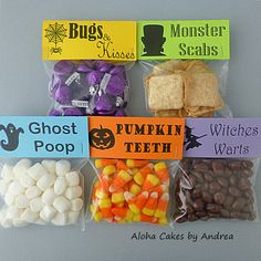 Halloween Classroom Party Favors Bag Topper Tag Trick or Treat Witches Warts Monster Scabs Pumpkin Teeth Bugs Kisses Ghost Poop Set of 10