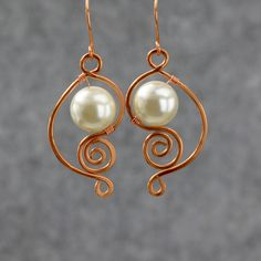 copper wiring pearl dangle earrings handmade ani designs