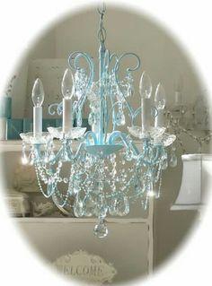 Aqua shabby chic chandelier