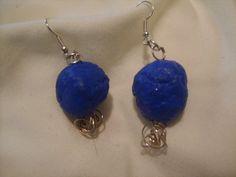 Blue paper bead wire wrap Earrings by SibrinaCreations on Etsy, $5.00