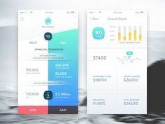 Comparison between house rent vs buy. Please press the App Ui Design, Mobile App Design, Mobile Ui, Ad Design, Rent Vs Buy, App Design Inspiration, Ui Web, Web Banner, Interactive Design