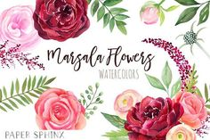 Watercolor Marsala Flowers Clipart by PaperSphinx on @creativemarket