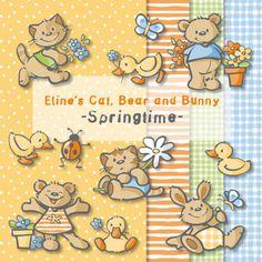Eline's Digital ClipArt Set - Cat, Bear & Bunny - Springtime
