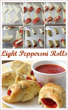 Lower Fat Pepperoni Pizza Crescent Roll Ups - Recetas Mexicanas Postres Crescent Roll Pizza, Pizza Roll Up, Crescent Roll Pepperoni Rolls, Pepperoni Pizza Rolls, Crescent Roll Appetizers, Pepperoni Recipes, Tapas, Boite A Lunch, Clean Eating Snacks