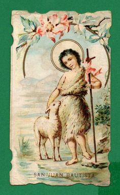 ST JOHN THE BAPTIST w/ LAMB & BANNER Old HOLY CARD