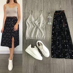 Beautiful outfit idea to copy ♥ For more inspiration join our group Amazing Things ♥ You might also like these related products: - Pants ->. Fashion Mode, Hijab Fashion, Korean Fashion, Fashion Dresses, Classy Outfits, Stylish Outfits, Beautiful Outfits, Skirt And Sneakers, College Outfits