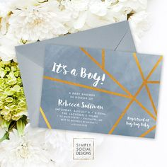 Geometric Baby Shower Invitation - Blue Grey and Faux Gold Foil It's A Boy Watercolor Printable Invitation Boy Baby Shower