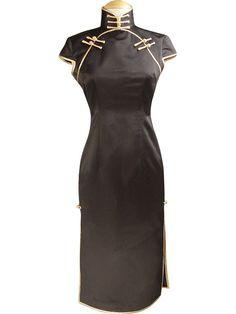 Custom Made Black Silk Cheongsam Dress #dress #cheongsam #fashion #partydress #silkdress #chineseweddingdress #wedddinggown