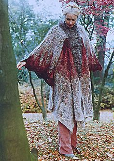 sylvia cosh and james walters crochet cape 1970s    Ahh, pioneers in free-form crochet. Sylvia, I believe, is still at it.