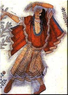 Bronze age Etruscan fresco of a dancing lady C.1500BC Crete