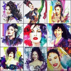 """Queen Of Tejano, Selena on Instagram: """"Probably one of my favorite artists @santinyc he creates these beautiful water color portraits. He drew Selena many times and it even got…"""" Selena Quintanilla Perez, Selena Quintanilla Birthday, Selena Shirt, Selena Selena, Selena Costume, Man In The Maze, Cover Wallpaper, Mexican Art, Watercolor Portraits"""