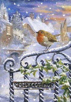4 DIY ideas to hang a beautiful Christmas wreath on your doorstep! Christmas Artwork, Christmas Bird, Magical Christmas, Christmas Scenes, Christmas Past, Christmas Paintings, Beautiful Christmas, Winter Christmas, Christmas Crafts