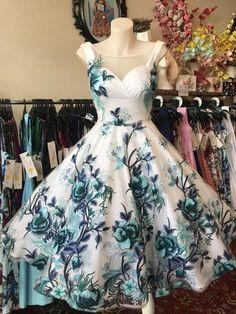 Embroidered Stretch Lace on Mesh Dragon Flower Blue - GiGi's Fairy Fashion Races Fashion, Skirt Fashion, Fashion Outfits, Pretty Little Dress, Little Dresses, Vintage Style Outfits, Vintage Dresses, 50s Style Skirts, Gigi Dress