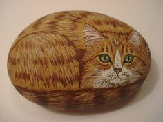 Orange tabby cat hand painted on a stone  pet by wildstonepainter, $16.00