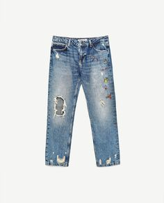Image 8 of RIPPED MID-RISE JEANS from Zara